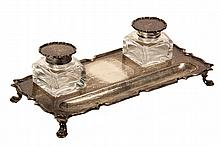 ENGLISH STERLING SILVER INK STAND - Georgian Style Footed Ink Stand with integral pen tray, two crystal bottles with hinged silver lids