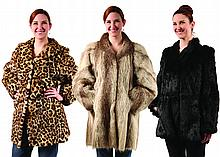 (3) FUR COATS - Ocelot size, 12-14, Black Mink, size 10 -12 and Sheared Raccoon, size 10-12 Good Conditon