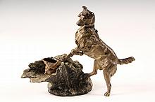 AUSTRIAN COLD PAINTED BRONZE - Viennese Figurine of an Alert Hunting Dog Discovering a Baby Fox in a hollow tree stump, unmarked, circa