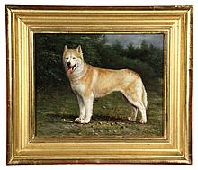 OIL ON PANEL - Full-Length Portrait of a Red & White Siberian Husky Dog, unsigned, 20th c. In water gilt molded frame. SS: 7 1/2
