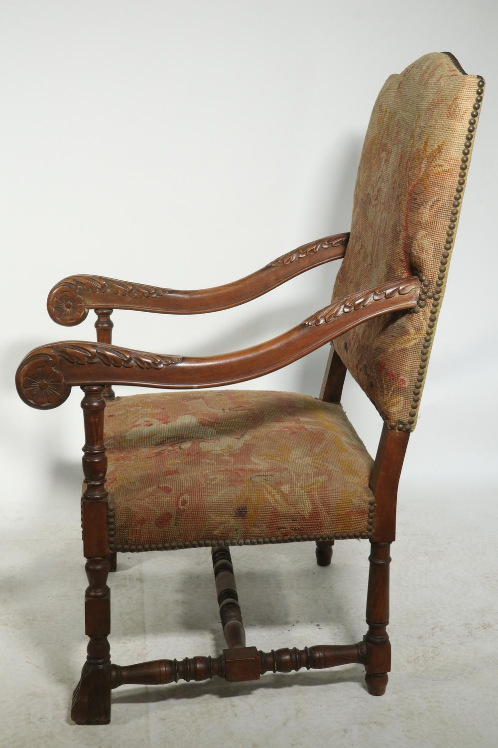 Lot - PR CARVED FLEMISH ARMCHAIRS