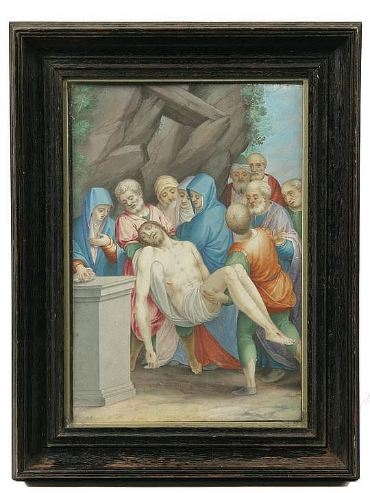 Tempera Painting Entombment of Christ Castello 1622
