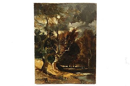 Oil on Panel Painting Barbizon Landscape 1851