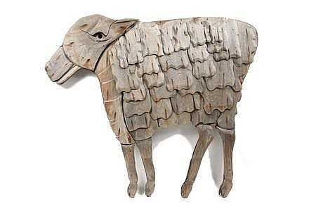 Bas Relief Sculpture of Sheep Bernard Langlais ME/NY