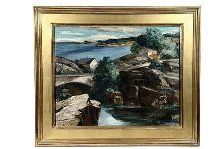 OOC Painting Maine Coast Ann McNulty Brockman c1930s