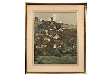 Gouache & Graphite German Town K H Muller-Samerberg