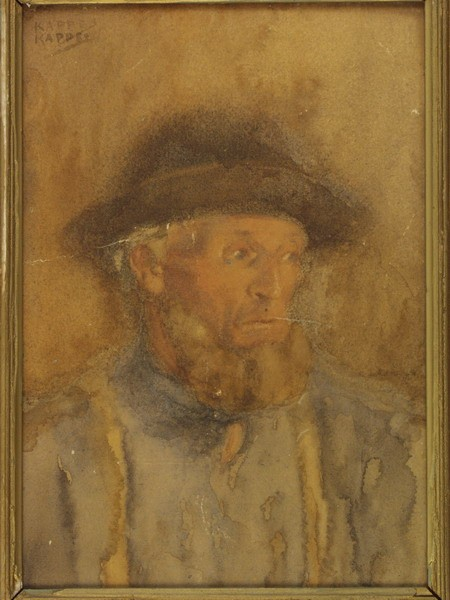 W/C PORTRAIT OF ELDERLY MAN ALFRED KAPPES