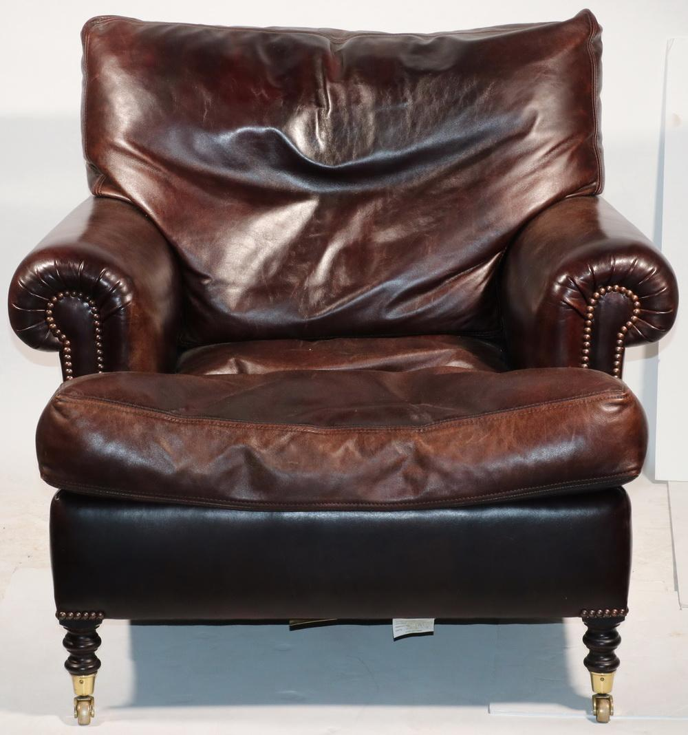 Lot - GEORGE SMITH LEATHER ARMCHAIR