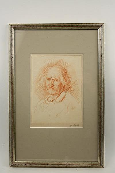 Conte Crayon Drawing Old Man G Von Hackl