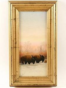 Oil on Maso Old Timers George D Smith WY 1993