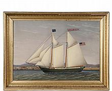 """JAMES GARDNER BABBIDGE (ME, 1844-1919) - Coastal Schooner """"Frances Hatch"""" (built Castine, ME in 1854, lost 1877) passing her home port of Rockland, Maine, oil on canvas, signed lower right, dated Mar 1877, """"Painted fo..."""