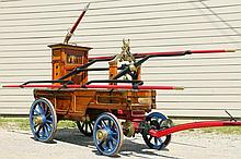 """RARE EARLY FIRE PUMPER - 1832 Classic New York Gooseneck Tub Pump Engine """"Lady Washington"""", made by James Smith of New York for Engine Company No. 40 of Manhattan, name plate at front, maker's name on brass cap, with .."""