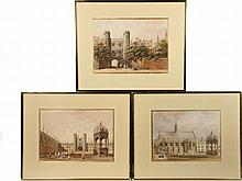 """GEORGE PYNE (UK, 1800-1884) - Three Views of Cambridge University, England, watercolor on paper, unsigned, in matching gold metal frames, matted and glazed, OS: 15 1/2"""" x 19"""", SS: 9"""" x 12 3/4"""". Very good condition."""