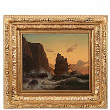 """HERMANN MEVIUS (Germany, 1820-1864) - Shipwreck on Rocky Coast at Dusk, oil on canvas, signed lower right and dated 1848, Raydon Gallery of NYC label verso, in ornate deep cove gold gesso frame, OS: 18"""" x 20"""", SS: 11""""..."""