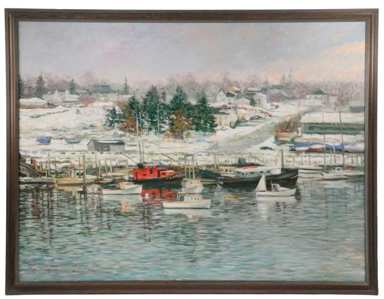 PAUL BLACK (ME, 1952-2014) -Northeast Harbor Scene, oil on canvas, signed lower left, dated '87, in molded weathered frame, OS: 39 1/2