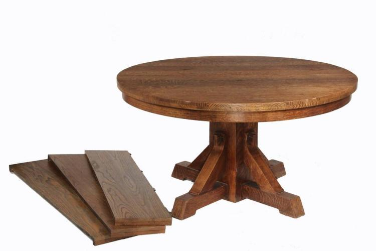 ARTS U0026 CRAFTS DINING TABLE   Round Oak Pedestal Table With (3) Leaves,