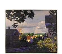 """MELISSA ANNE MILLER (Contemporary Concord, NH) - """"Blue House, Stonington, oil on canvas, unsigned. Black slat frame with gold edge, shadow line. OS: 29"""" x 35"""", SS: 28"""" x 34"""". Fine condition."""