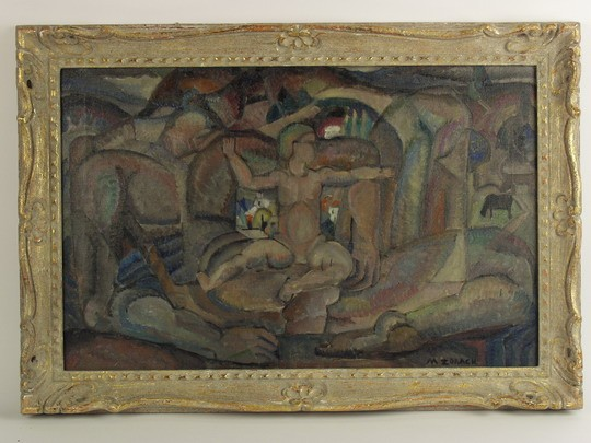 OOC - 'The Awakening' by Marguerite Thompson Zorach (ME/NY, 1887-1968), signed lr and with title, name and address of 123 West 10th Street, NYC on artist-made label verso. An important example of Zorach's influential Fauvist/Symbolist period, ca