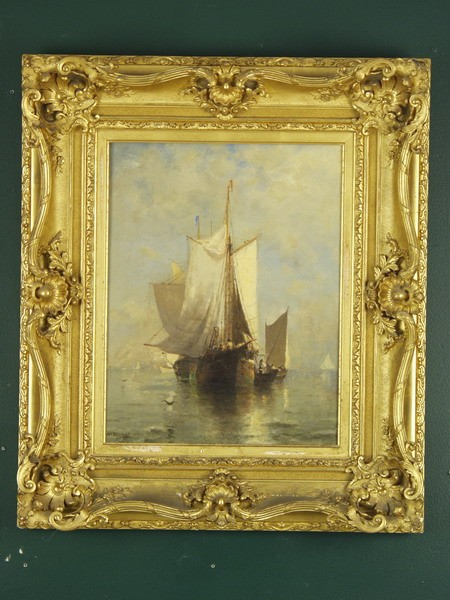 OOC - 'A Dead Calm' by Walter Franklin Lansil (MA, 1846-1925), signed ll and dated 1882, signed, titled and dated verso, depicting becalmed fishing boats. In a fancy gilt reticulated deep cove profile edged Victorian frame, SS: 16