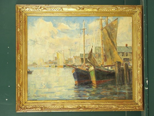 OOC - New England Harbor Scene by Stephan Chizmark (MI, 1898 - ? ), in handcarved gilt matched corner Arts & Crafts frame, SS: 23 1/2