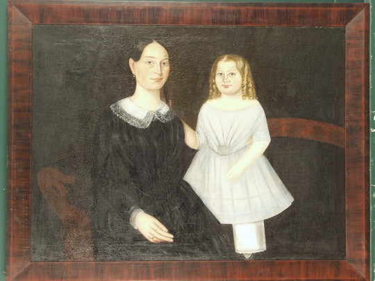 OIL ON BED TICKING- Double Portrait of Mary Dakin Shaw and Daughter Hannah Miller Shaw, circa 1830, unsigned. In a replica mitered gran painted frame, SS: 35