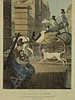 LITHOGRAPH, HANDCOLORED - ' La Porte Cochere ' by John James Chalon (British, 1778-1854), published in London by Rodwell & Martin, 1820. Depicts wealthy couple in carriage passing through gate near poor woman with child. In gilt molded frame,, John James R.A Chalon, Click for value