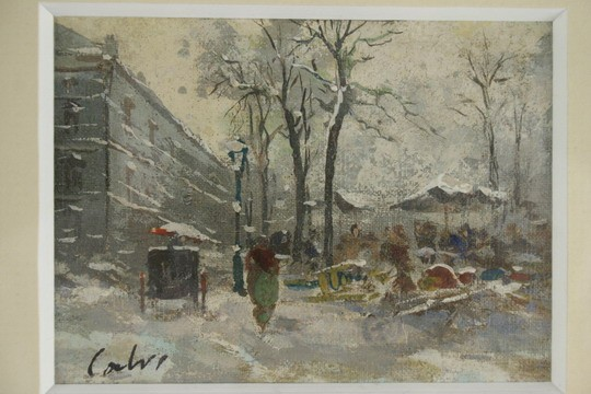 MINIATURE OOC - Street market in winter by Ercole Calvi, Verona Italy (1824- ?), signed Calvill, water gilt molded frame, matted and glazed, SS: 2 3/4