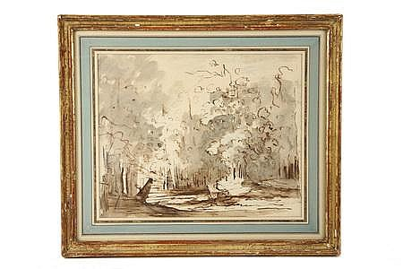 Old Master Drawing Trees Joseph Platzer Austria