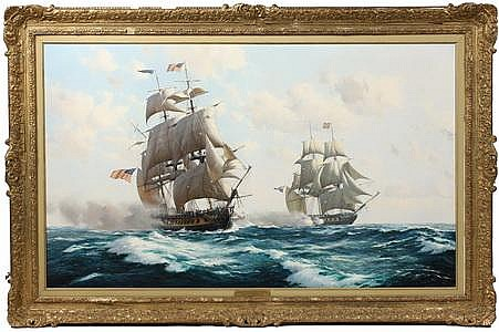 OOC Painting Ship Battle Derek G M Gardner RSMA UK