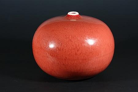 Copper Red Orb Vase by Brother Thomas Bezanson