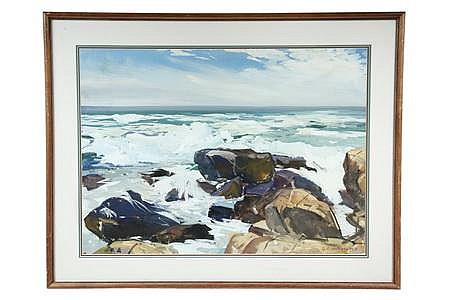 Gouache on Board Monhegan Rocks O F von Fuehrer PA