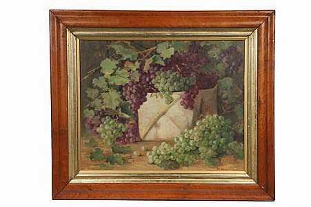 OOC Painting Grapes in Baskets J E Bradstreet c1900