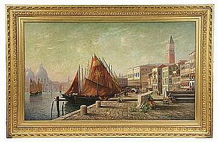 OOC Painting View of Venice by F E Wright 1887