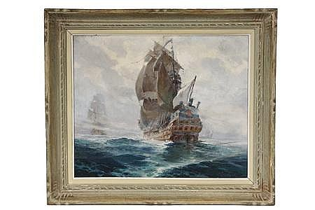 OOC Painting 17th C Galleons Henri Miloch French