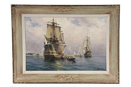 OOC Painting Harbor Galleons Henri Miloch French '33
