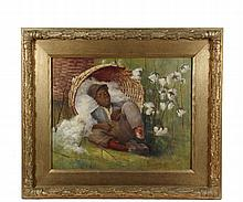 JOHN INGERSOLL COGGESHALL (MA, 1856-1927) - Cotton Picker Sleeping in His Basket, a colloquial southern scene, oil on canvas, signed lower right, circa 1900, in gilt oak panel frame with large gesso rank of leaves, OS...