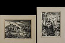 """(2) Associated American Artists Lithographs: AARON BOHROD (WI/IL, 1907-1992) - """"Summertime"""", 9 1/4"""" x 12 7/8"""" impression; JAMES CHAPIN (NY/Canada, 1887-1975) - """"Composition"""", 11 3/4"""" x 8 7/8"""" impression. Both are penc..."""