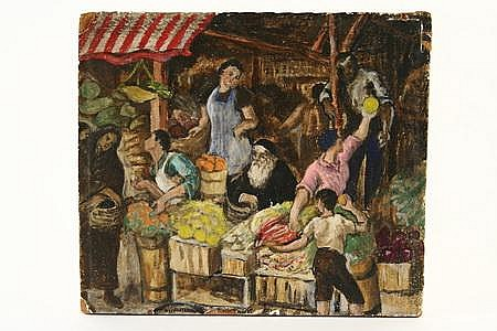 Tempera Painting Fruit Market by Samuel Rosenberg