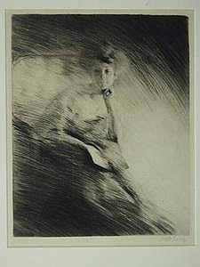 Drypoint Etching Seated Lady by Otto Goetze German