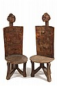 PAIR AFRICAN STOOLS - Pair of Carved Wood High Back Stools in Male and Female Anthropomorphic Form, Zoromo Peoples, Tanzania, roughly 1