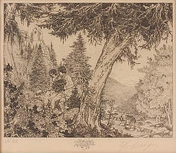Etching Two Lovers by Karl Karger Ca 1905