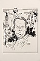 PEN & INK ILLUSTRATION - Patrick McGoohan as John Drake in the international espionage drama 'Danger Man', by George Wachsteter (1911
