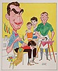 COLOR ILLUSTRATION - Caricature by George Wachsteter (1911-2004), for the 1965 season premiere of CBS-TV's 'My Three Sons' with Fred