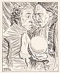 PEN & INK ILLUSTRATION - Drawing by George Wachsteter (1911-2004) of Jose Ferrer as Face and George Coulouris as Subtle in 'The Alchem