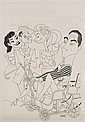 PEN & INK ILLUSTRATION W COLOR COMP - Caricature by George Wachsteter (1911-2004) for CBS-TV's 'Holiday on Wheels' w Sid Caesar, Ton