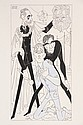 PEN & INK ILLUSTRATION - Caricature by George Wachsteter (1911-2004) for 1958 Broadway drama, 'J.B.', starring Raymond Massey as Mr.