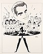 PEN & INK ILLUSTRATION - Caricature by George Wachsteter (1911-2004) of 'America's Oldest Teenager', Dick Clark to promote ABC-TV's