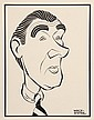 PEN & INK ILLUSTRATION - Caricature by George Wachsteter (1911-2004) of Walter Pidgeon for 'U.S. Steel Hour: The Theatre Guild on the