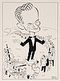 PEN & INK ILLUSTRATION - Caricature by George Wachsteter (1911-2004) of 'Swing-and-Sway' orchestra leader Sammy Kaye for his CBS-TV a
