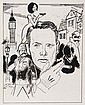 (3) PEN & INK ILLUSTRATIONS - Caricatures by George Wachsteter (1911-2004) of Patrick McGoohan as agent John Drake in British ITC TV '